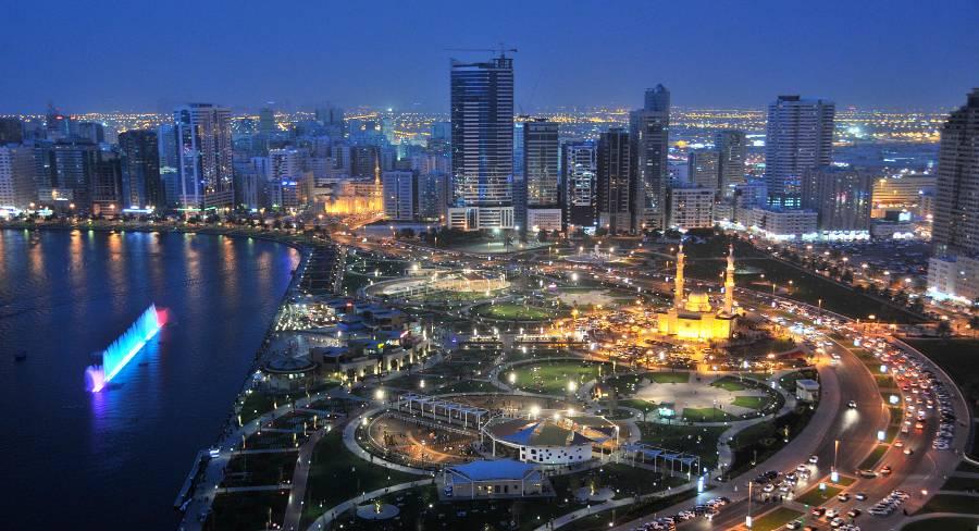 Sharjah-Corniche-Waterfront-By-Night
